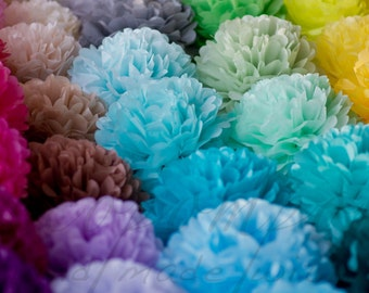 party set: 60 mixed size tissue  paper Pom poms set - wedding party decorations