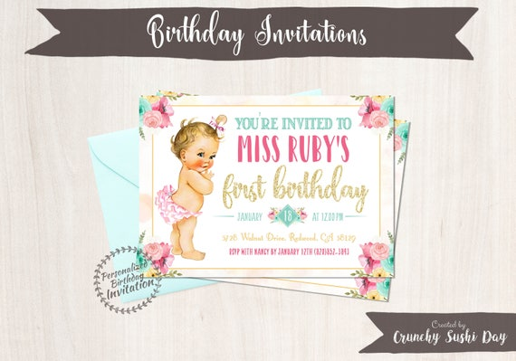 1st Birthday Invitations Crunchy Sushi Day