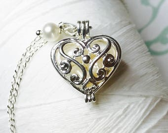 Worry Locket - white pearl heart locket / heart locket / silver locket / June necklace / floating locket / living locket / pearl necklace