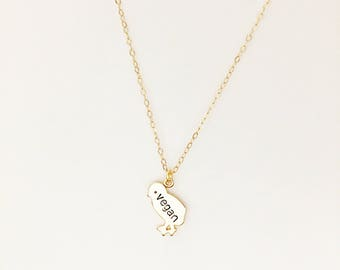 Vegan Chick Necklace // Vegan Jewelry // Vegetarian Necklace // Bird Necklace // Engraving Necklace // Initials // Chicken
