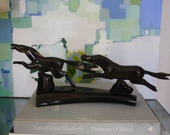 Vintage Folk Art Articulated Horse Sculpture Carved of Buffalo Horn