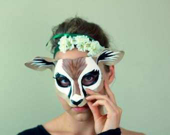 Gazelle Leather Mask - Deer Costume - Antelope Mask - Deer Costume - Lion King - Masquerade Mask - Halloween Costume - Women's Costume