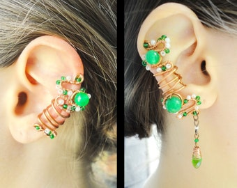 Silver ear cuff no piercing, nephrite ear cuff non pierced, elven jewelry Fillory, fairy ear cuff set copper ear climber, green earrings