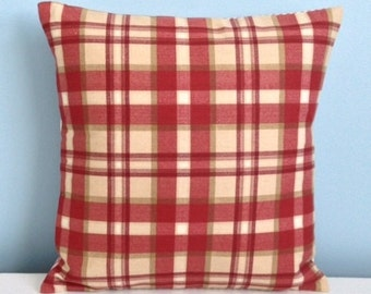 Farmhouse pillow Red plaid throw pillow. Red ticking pillow. Country cottage pillow cover. Rustic Ranch Cabin decor. Christmas pillow.