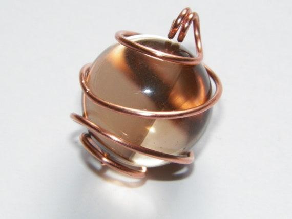 Phantom Point Smoky Quartz Copper Hand Made Blessing Ball Smoky Quartz Amulet Talisman Reiki Crystal Healing