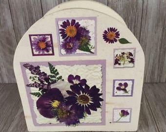 Napkin Holder with Purple Flowers
