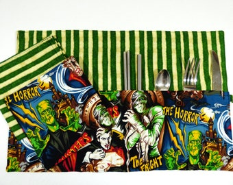 Classic Movie Monsters Zero Waste Roll Up Placemat Set