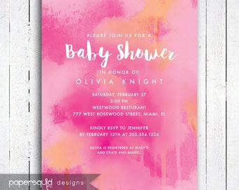 Baby Shower Invitation, Pink Shower Invitation, Painterly background invitation, Personalized Digital DIY Printable File -  Item 188