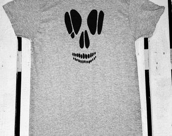 Hand Painted Skull T Shirt / Goth Graphic Black Skull Tee