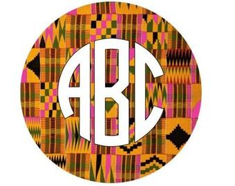 Iron On Transfer OR Adhesive Decal Monogram - Serengeti Kente Pink Pattern HTV, Wax Print Decal, Kente, Kente Cloth, Kente Fabric