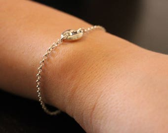 Silver chain bracelet and silver coffee seed