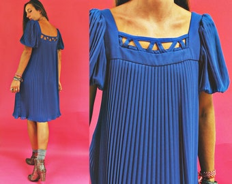 1970s Royal Blue Pleated Puff Sleeve Pat Richards Dress