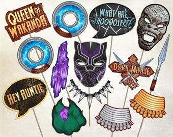 Black Panther INSPIRED Photobooth Props #2 - Digital Download - Printable Party Decoration Wakanda Vibranium Killmonger T'Challa Birthday