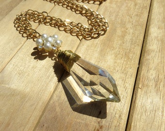 Vintage Gold Wire Wrapped Icicle Crystal Necklace // Large Crystal Prism Necklace // Rhinestone and Pearl Necklace