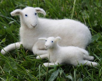 Needle Felted White Ewe Sheep with Lamb