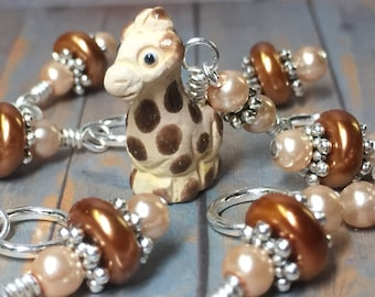 Giraffe Stitch Marker Set, Snag Free Animal Knitting Markers, Gift for Knitters