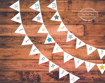 Printable Little Star Baby Shower Welcome it's a boy it's a girl banner Instant Download