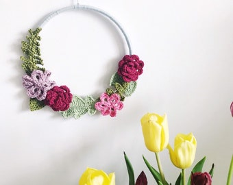 Large Crochet Floral Wreath