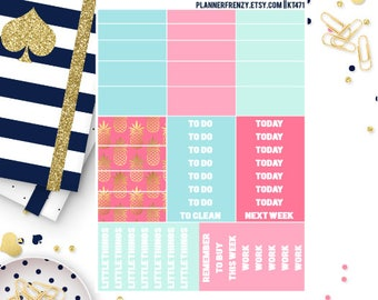 """Golden Tropics Collection """"Washi"""" and Section Header Planner Stickers! KT471"""