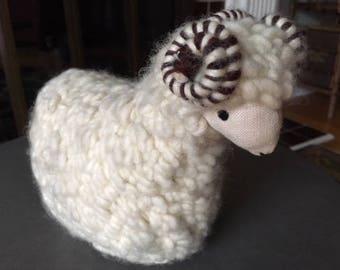 Vintage Hand Made Wool and Linen Lamb/Sheep/nursery/baby/decor