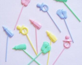 12 Pastel Baby Cupcake Picks