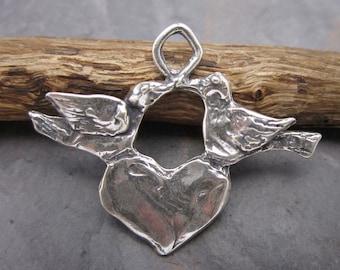 Artisan Sterling Silver Rustic Love Birds Pendant