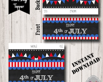 INSTANT DOWNLOAD  - 4th of July Treat Bag Topper - Printable - BT015