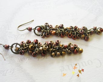 Autumn colors Pearl chain earrings