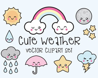 Premium Vector Clipart - Kawaii Weather Clipart - Kawaii Weather Clip art Set - High Quality Vectors - Instant Download - Kawaii Clipart