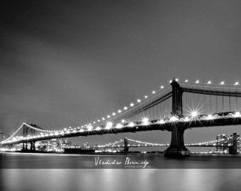 New York Photography - Black and White Photograph of Manhattan Bridge at Night. New York, NY - 8x10 photo