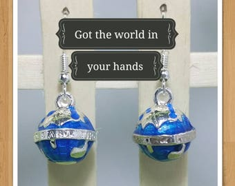 WORLD GLOBE EARRINGS earth silver and blue