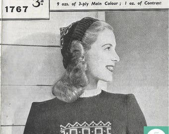 1940's Vintage  Knitting Pattern PDF Digital Download Jumper/ Sweater and Hat by Best Way  Pattern no:1767