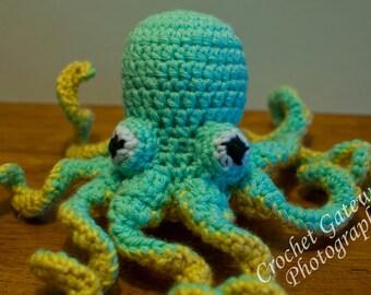 Octopus, Crochet Mini Octopus, Mint Green Baby Octopus, Sea World, Baby, Nursery, Sea Animals