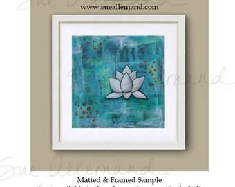 "LOTUS IN BLUE, Original Art Print 8"" x 8"", Turquoise Inspirational Abstract Art, Painting Lotus Flower, Zen Wall Art"