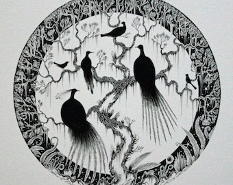 Bird Moon Illustration and original bird drawing and circle shaped ink picture and bird ink drawing and black and white ink nature art