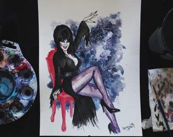 Elvira Inspired Watercolor Print