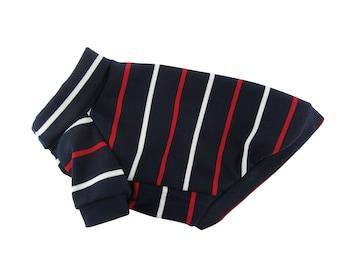 Navy Striped Turtle Neck Raglan Top, Winter Dog Top, Dog Clothing, Dog Apparel, Pet Apparel