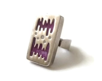 Modernist Sterling and Enamel Ring