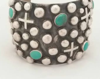 Chimney Butte Signed Navajo Sterling Silver and Turquoise Cuff Style Bracelet ~ Native American Valentine's Natural Bohemian Statement