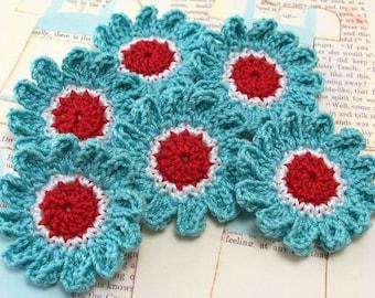 Crochet Flower Appliques in  Aqua Red White