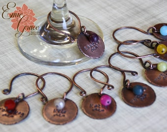 Copper Custom Wine Charms Set, Hand Stamped, Rustic, Names, Words