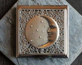Moon compact mirror, silver compact mirror, square mirror, lunar mirror, bridesmaid gift, holiday gift ideas, unique Christmas gifts