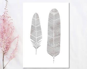 Grey Feather Print Grey Nursery Wall Art Feather Watercolor Feather Illustration Nursery Decor Feather Art Baby Decor