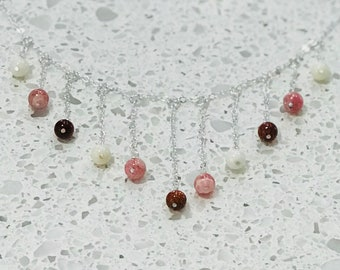 Goldstone, Coral and Rhodochrosite Necklace - Silver or Gold
