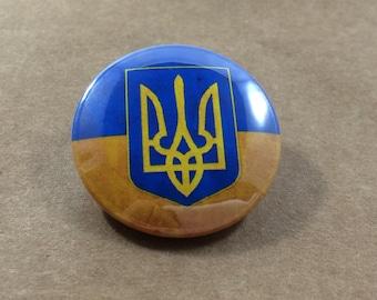 Ukraine Flag Pinback Button Badge, Україна Magnet, Ukrainian Coat of Arms, Київ Киев Kiev Kyiv Pin, Odessa Lviv Yellow Blue Patch Travel
