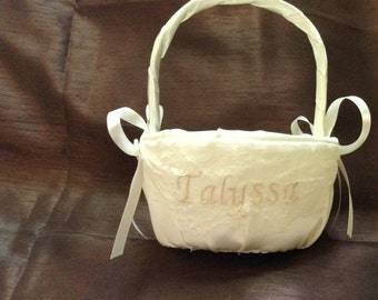 Flower girl basket ivory or white with name or initials embroided on lace
