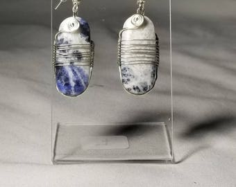 Dangle Earrings, Handmade Earrings, Sodalite, Sodalite Earrings, Sodalite Jewelry, Silver Earrings, Unique Earrings, One of a Kind Jewelry