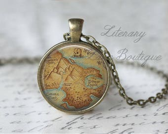 Peter Pan, Neverland Map, J.M. Barrie Necklace or Keyring, Keychain.