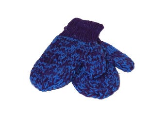 Blue and Purple Mittens - Hand knit Hand Dyed Wool