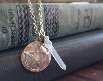 Etched Pentagram with Quartz Point